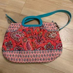 VERA BRADLEY pink & turquoise pattern tote bag